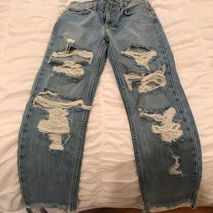 Carmar distressed high-waisted denim jeans